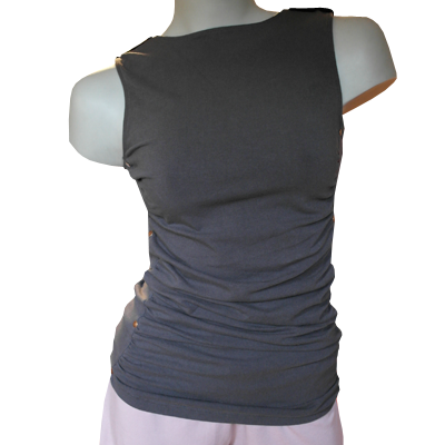 Sleeveless slim fit button top
