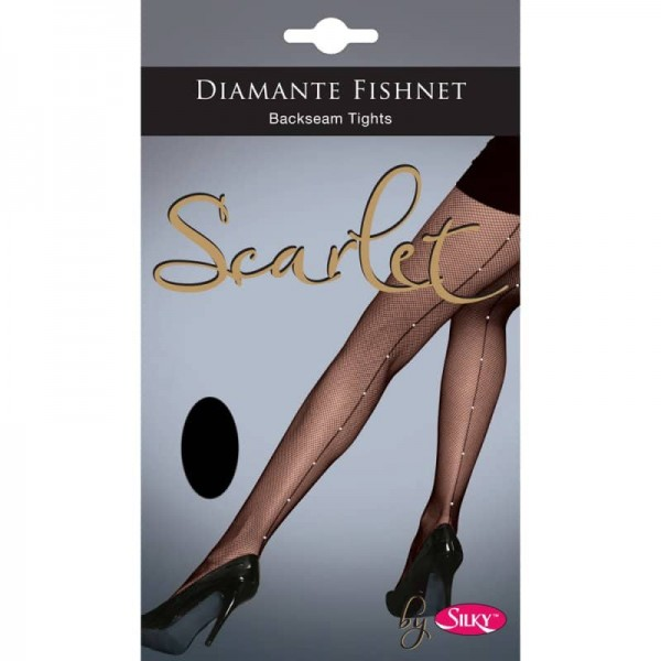 Fishnet Diamante Backseam